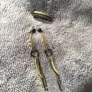 Vintage Brass Knuckle Ring & Earring Set